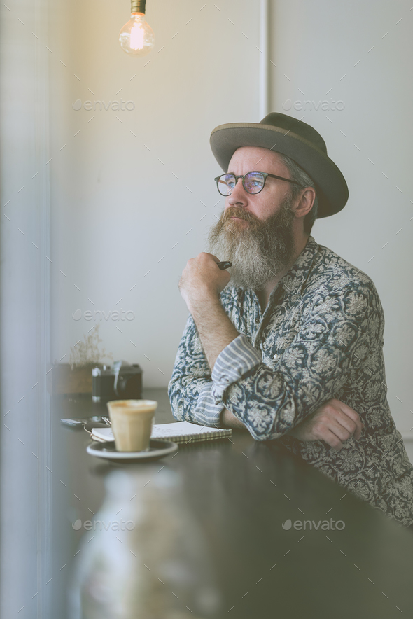 Senior Man Writing Working Coffee Shop Realxation Concept - Stock Photo - Images
