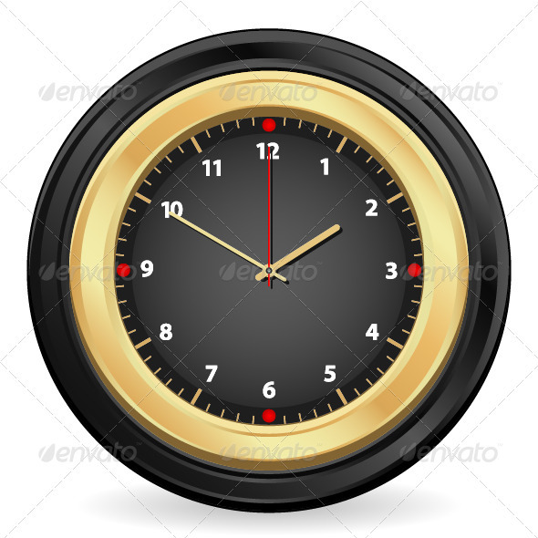 Black Gold Clock - Objects Vectors