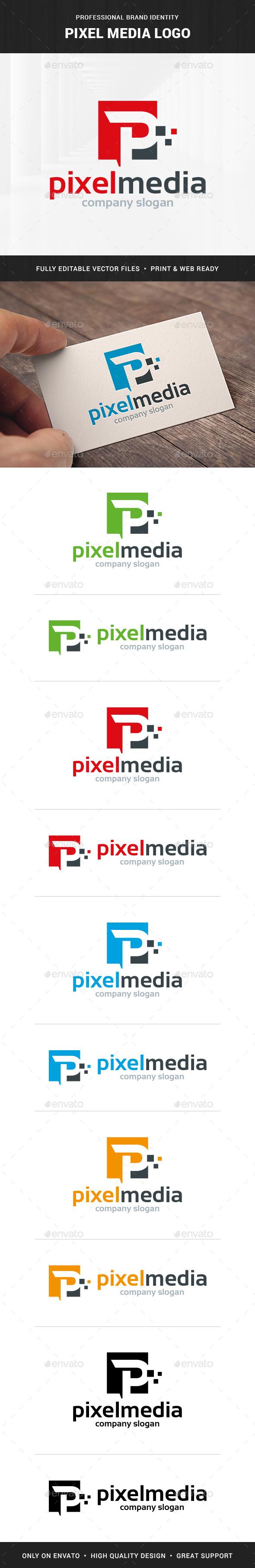 Pixel Media - Letter P Logo - Letters Logo Templates