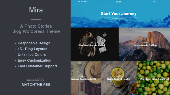 Mira – A Photo Stories Blog WordPress Theme
