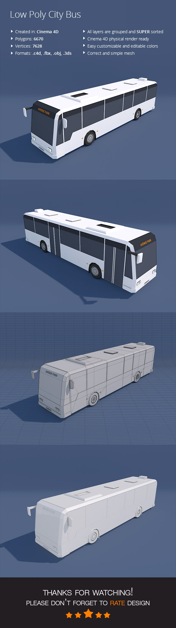 Low Poly City Bus - 3DOcean Item for Sale
