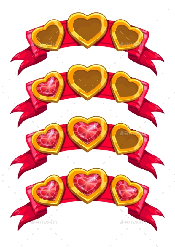 Fancy Golden Hearts On Red Ribbon By Lilu330 Graphicriver