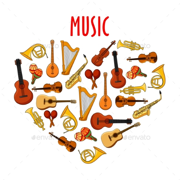 Heart With Classical Musical Instruments Symbol By Vectortradition