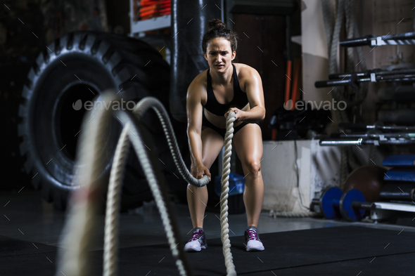 Cross training with rope - Stock Photo - Images