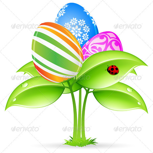 Easter Eggs-flowers Card with Ladybug - Seasons/Holidays Conceptual