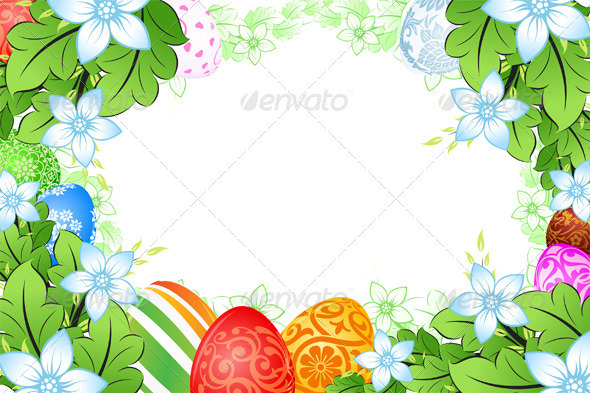 Flower Frame with Easter Eggs - Seasons/Holidays Conceptual