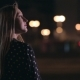 Half Length Woman Standing Alone On Night Street - VideoHive Item for Sale