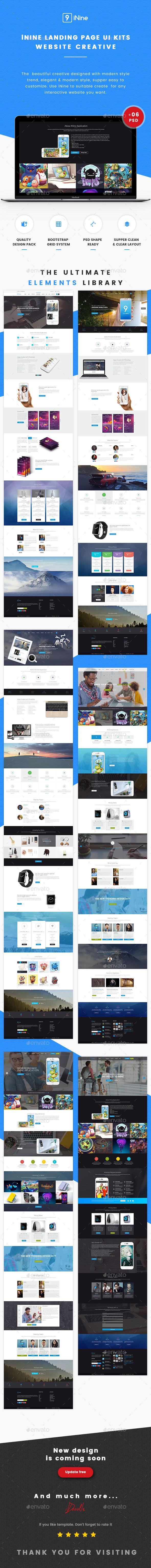 Nine UI Kits Landing Pages & Web Design Template - User Interfaces Web Elements
