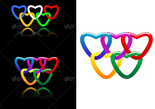 Set of abstract heart symbols - Decorative Vectors