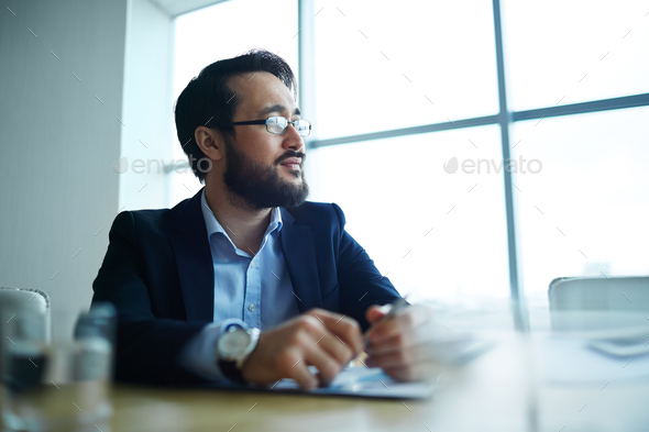 Pensive businessman - Stock Photo - Images