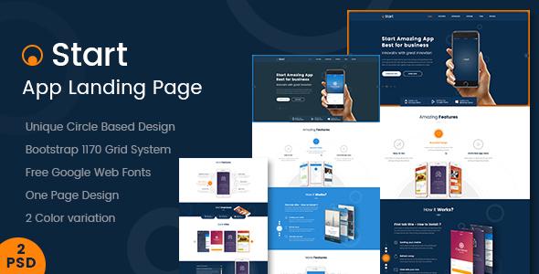 Start - App Landing Page PSD Template - PSD Templates