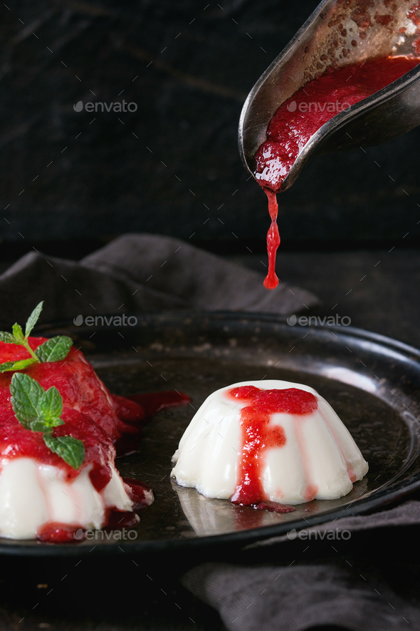 Panna cotta with strawberries - Stock Photo - Images