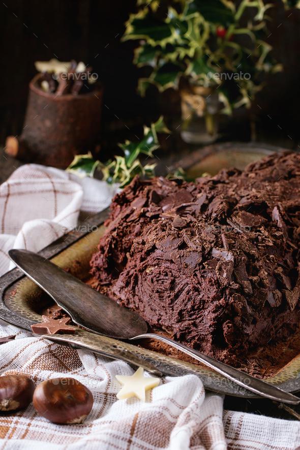 Homemade christmas chocolate yule log - Stock Photo - Images
