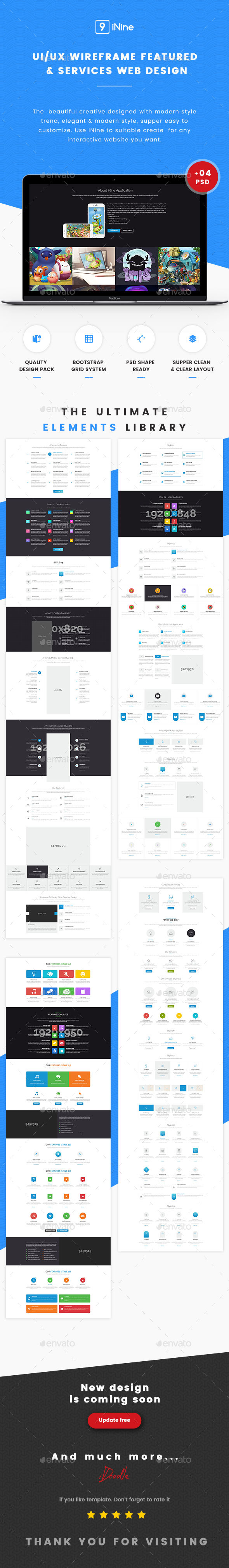 UI Kits Wireframe Featured & Services - 04 PSD - User Interfaces Web Elements