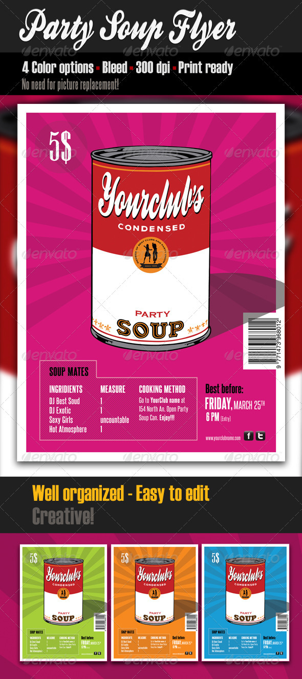 Party Soup Flyer Template - Clubs & Parties Events