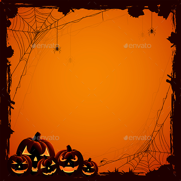 Halloween Background with Pumpkins by losw | GraphicRiver