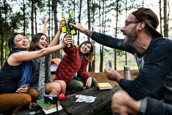 Friendship Hanging Drinks Cheers Together Concept - Stock Photo - Images