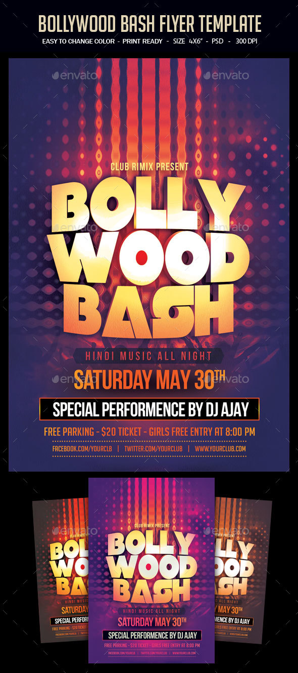 Bollywood Bash Flyer Template by studiorgb   GraphicRiver