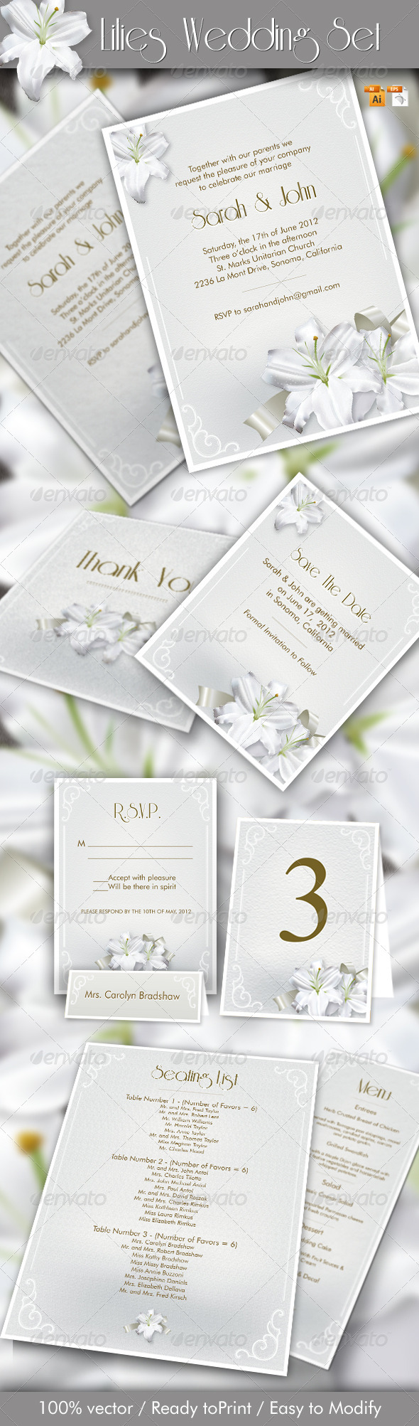 Lilies Wedding Set - Weddings Cards & Invites