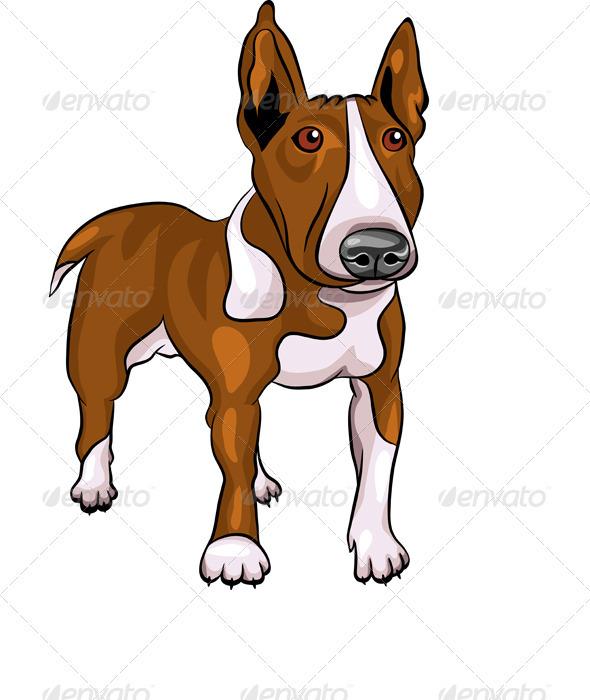 Vector Cartoon Bull Terrier Dog Breed - Animals Characters