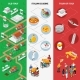 Italian Cultural Isometric National Flag Banners