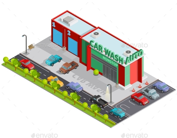 Car Wash Isometric Composition