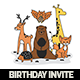 Cute Animales Birthday Invitation Card - GraphicRiver Item for Sale