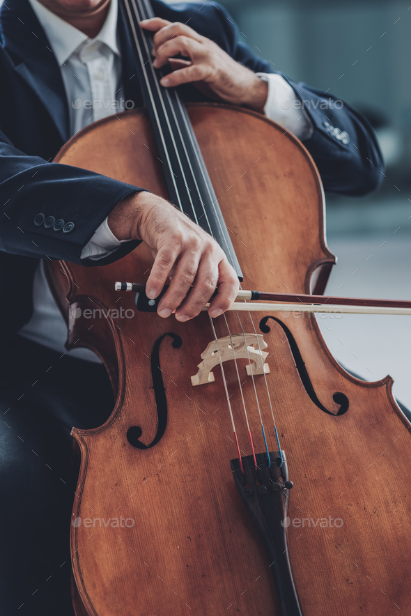 Professional cellist performing - Stock Photo - Images