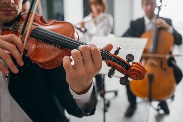 Violinist performing on stage with orchestra - Stock Photo - Images