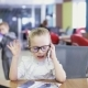 Office Kid Talking On Phone And Expresses Emotions - VideoHive Item for Sale