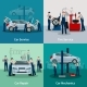Car Service 2X2 Compositions - GraphicRiver Item for Sale