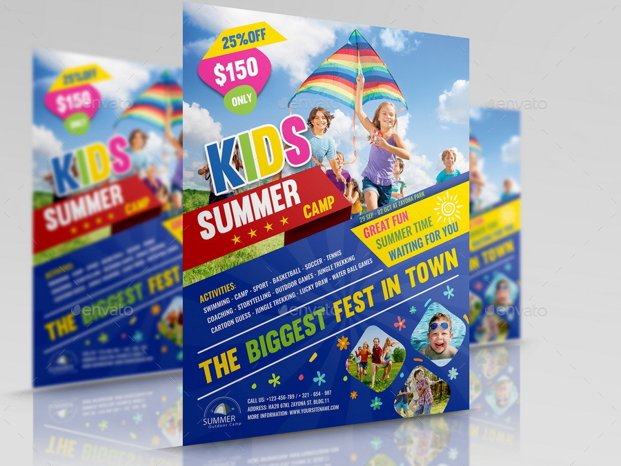 Kids Summer Camp Flyer Template By Owpictures | Graphicriver