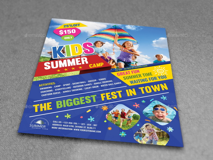 Kids Summer Camp Flyer Template By Owpictures  Graphicriver
