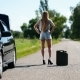 Beautiful Girl Hitchhiking On Rural Road Back View - VideoHive Item for Sale
