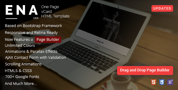 ENA - One Page vCard Template with Page Builder - Virtual Business Card Personal