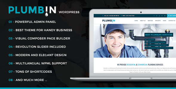 Plumbin – Plumbing Handy Business WordPress Theme