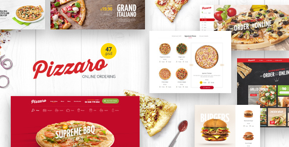 Pizzaro – Food Online Ordering eCommerce PSD