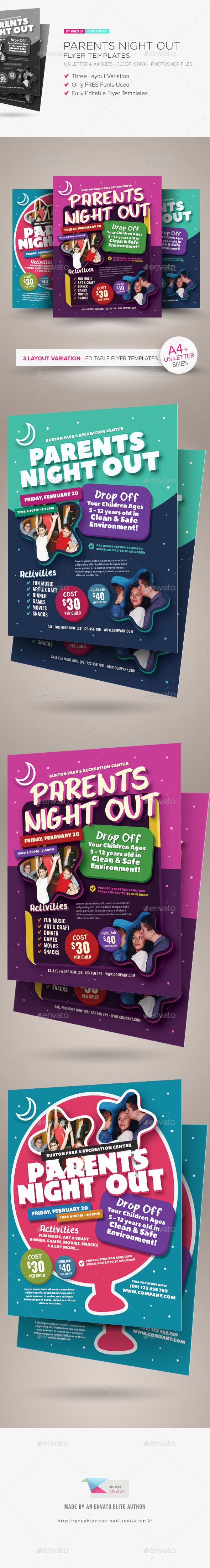 parent flyer templates - parents night out flyer templates by kinzishots graphicriver