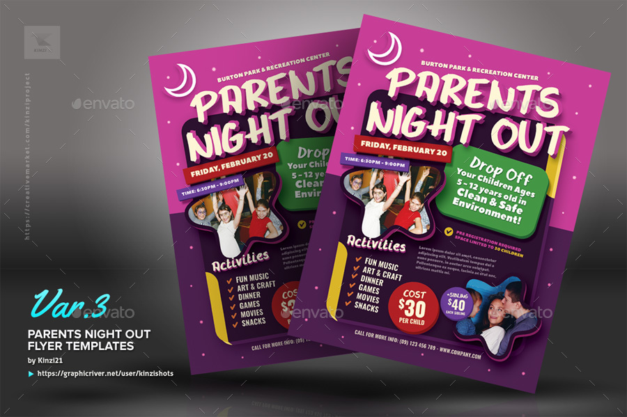 parents night out flyer templates by kinzishots