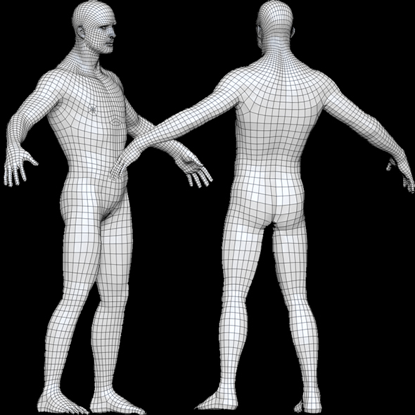 Base Mesh Male_Low Poly Male - 3DOcean Item for Sale