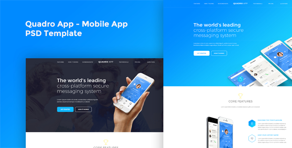 Quadro App - Mobile App PSD Template - Business Corporate