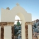 Calm Sea, White Church Arch, Cross, Bells On The Santorini Island, Greece. - VideoHive Item for Sale