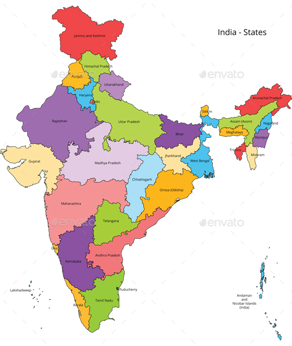 India States Map And Outline By Vzan GraphicRiver - India map
