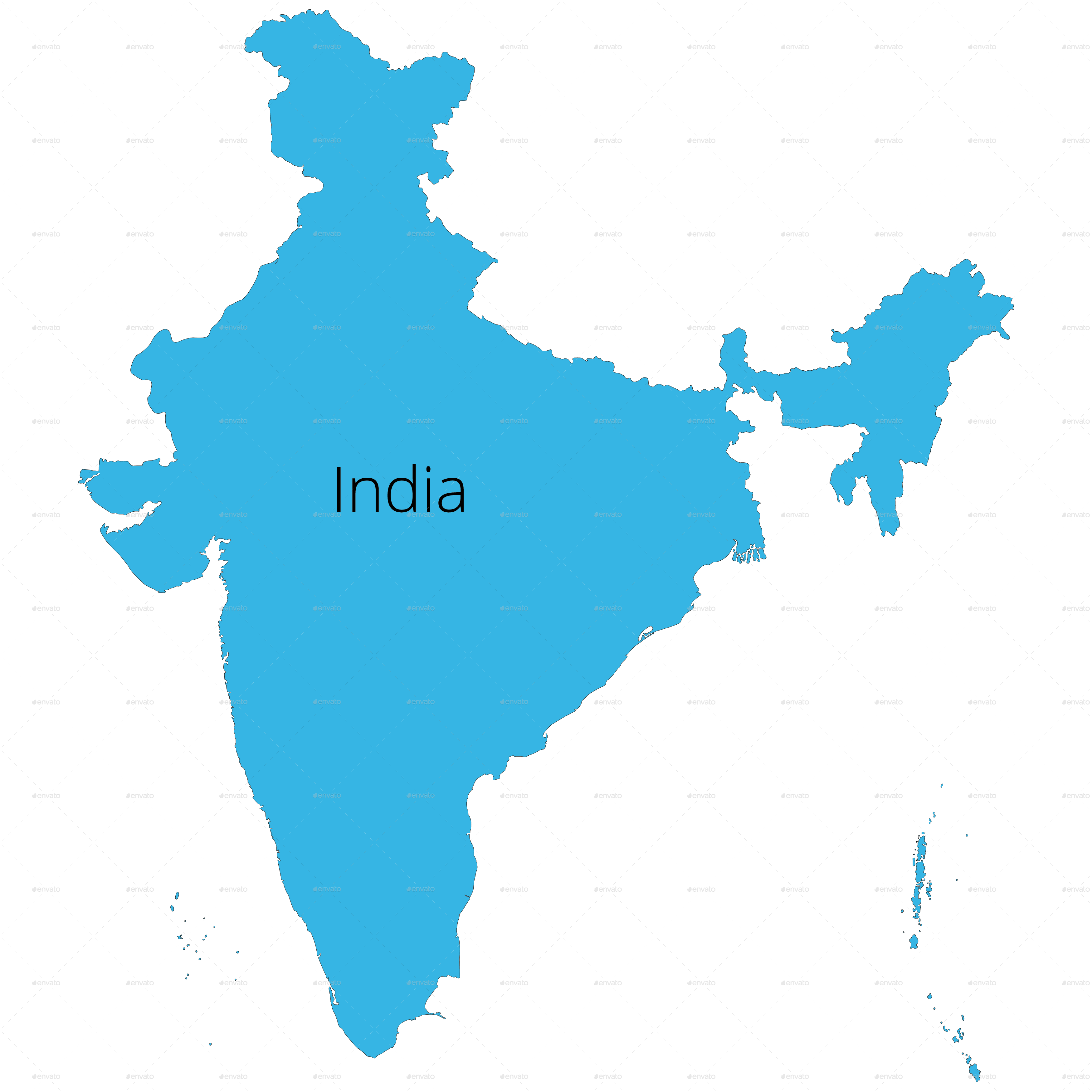 India States Map and Outline by vzan2012 | GraphicRiver