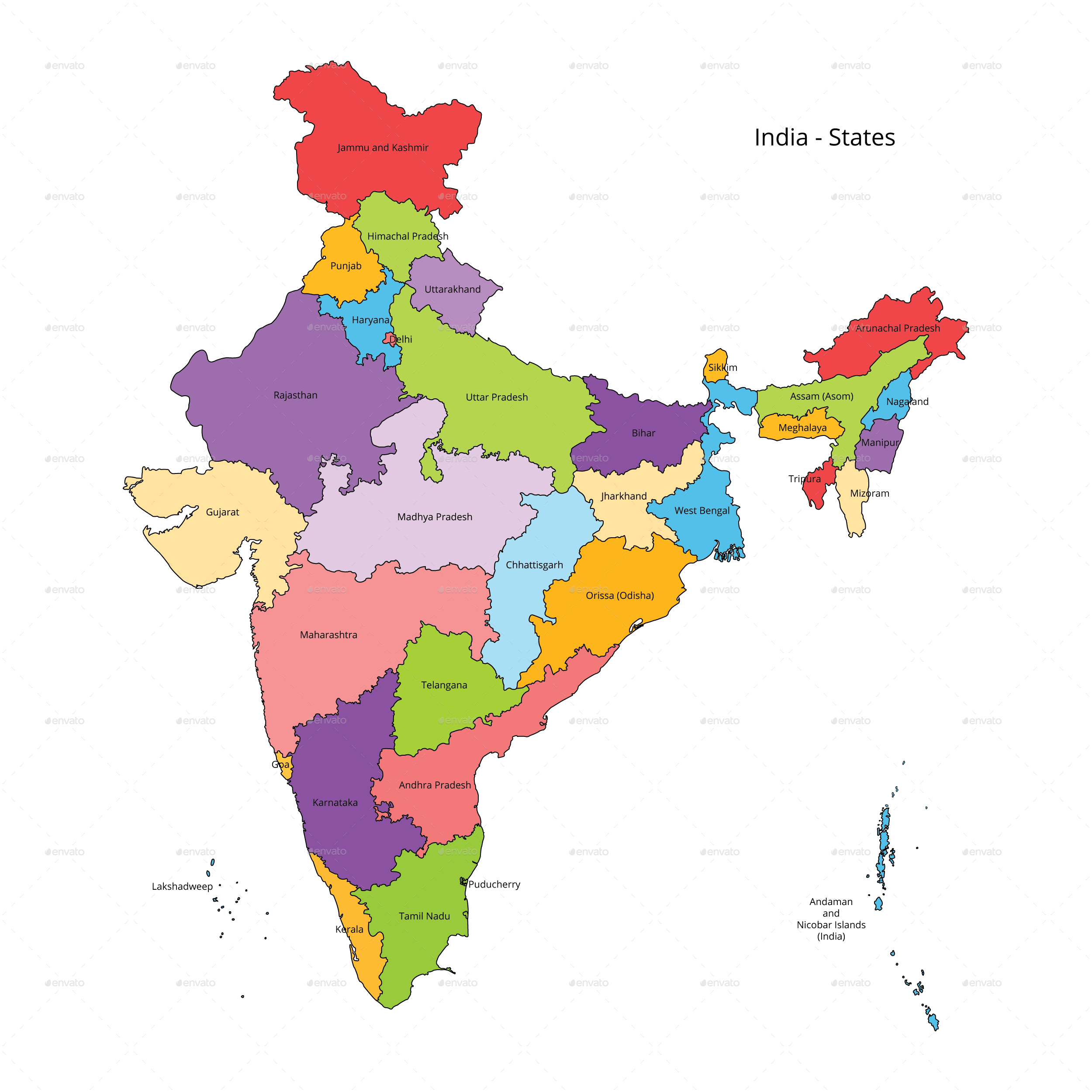 state of india map India States Map And Outline By Vzan2012 Graphicriver state of india map