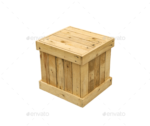 Wooden box export pallet shipping cube isolated - Stock Photo - Images