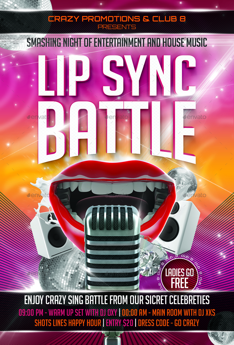 lip sync battle flyer template by designroom1229
