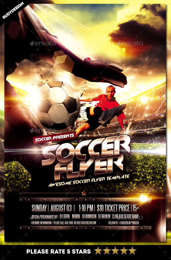 football soccer sports flyer by rudydesign