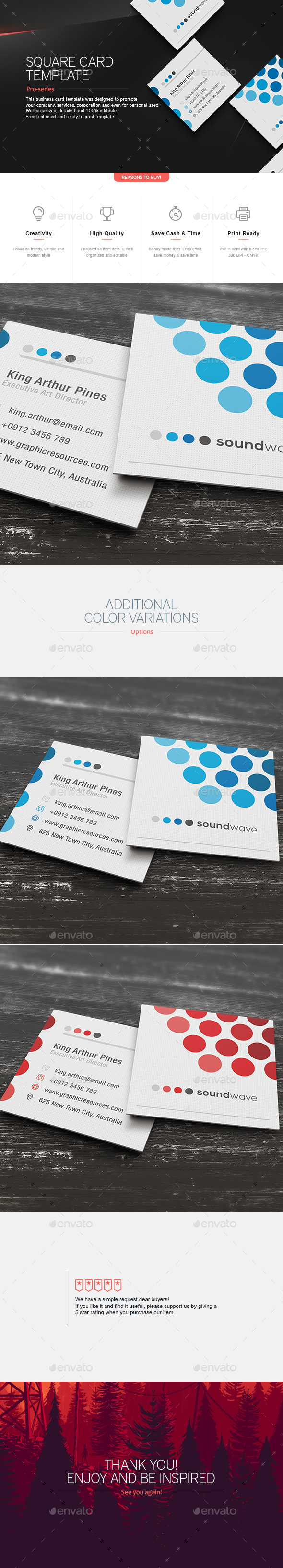 Square Business Card Template V By Teestrim GraphicRiver - Square business card template