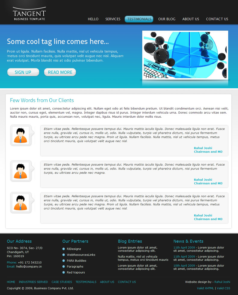 Tangent Business Template by rjoshicool | ThemeForest